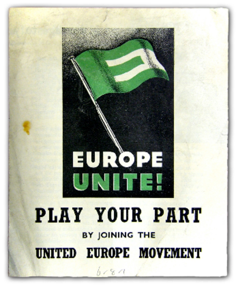 Placard invitant à adhérer à <i>l'United Europe Movement</i>