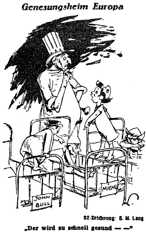 Cartoon by Lang on the economic recovery of West Germany (9 November 1948)