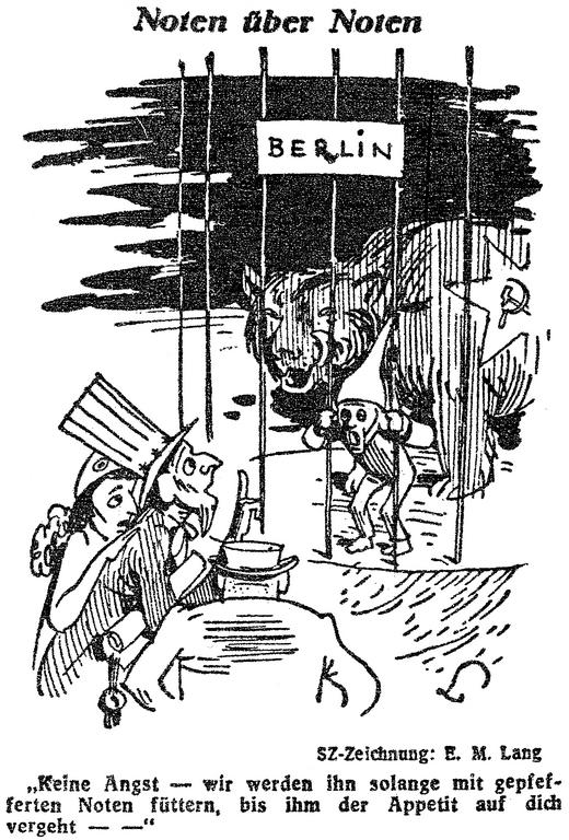 Cartoon by Lang on the stance taken by the United States, France and the United Kingdom in response to the Berlin Blockade (17 July 1948)
