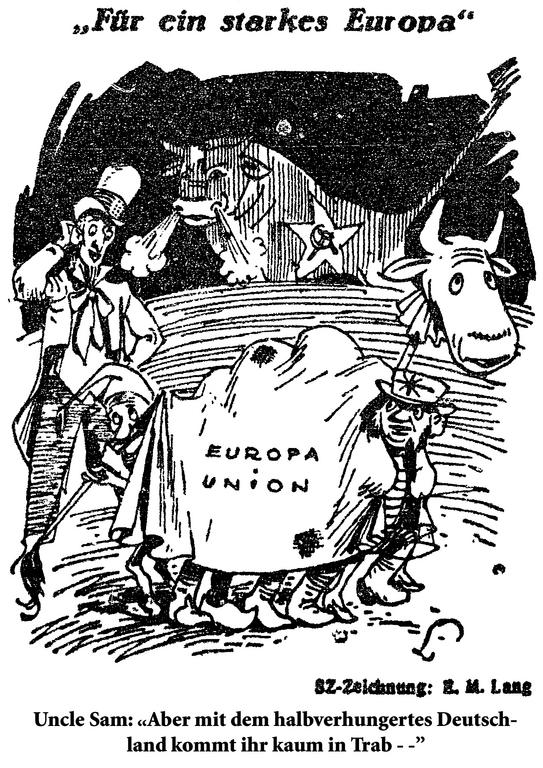 Cartoon by Lang on the difficulties involved in the plan for a united Europe (22 May 1948)