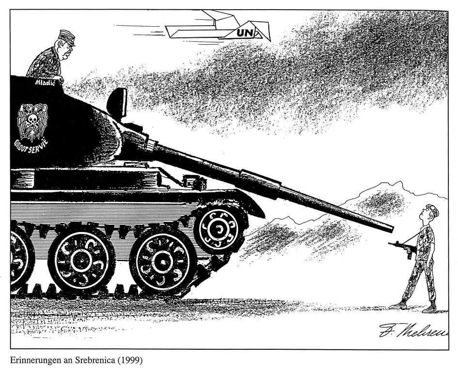 Cartoon by Behrendt on the powerlessness of UN forces in Srebrenica (1999)