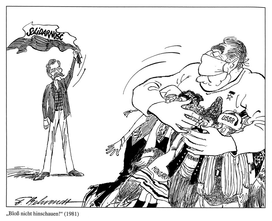 Cartoon by Behrendt on the impact of <i>Solidarnosc</i> on the stability of the Eastern bloc (1981)