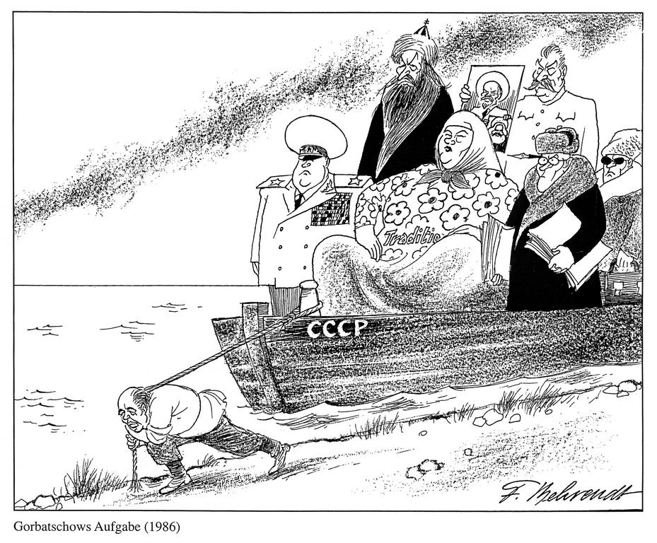 Cartoon by Behrendt on the burden of heritage in the Soviet Union (1986)