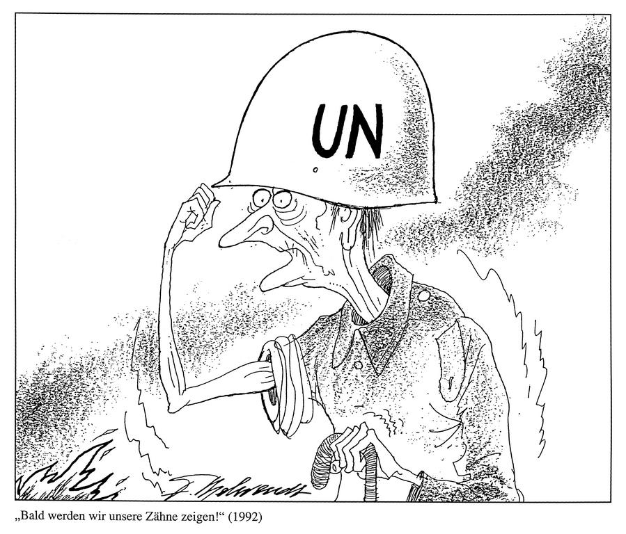 Cartoon by Behrendt on the United Nations' helplessness at the beginning of the conflict in Yugoslavia (1992)