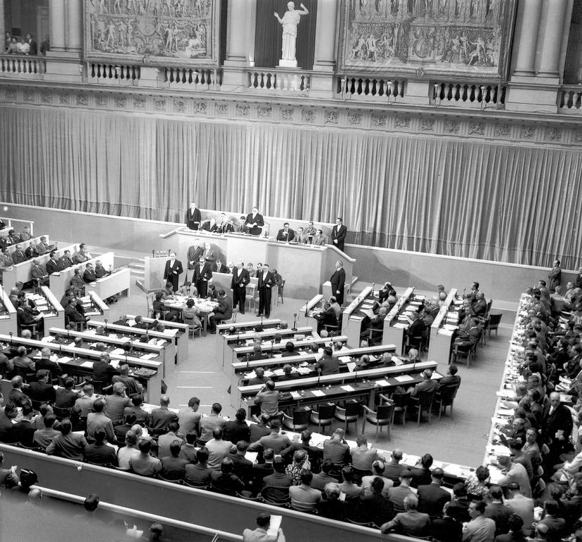 First session of the Consultative Assembly of the Council of Europe in the hall of Strasbourg University (Strasbourg, 10 August 1949)