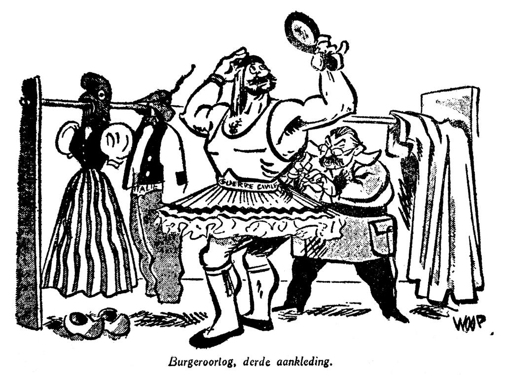 Cartoon by Woop on Moscow's role in the civil war in Greece (9 January 1948)
