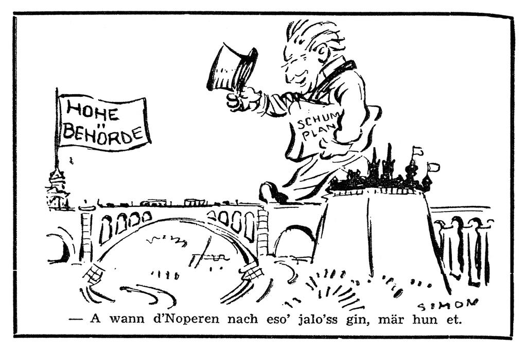 Cartoon by Simon on the seat of the ECSC High Authority in Luxembourg (4 October 1952)
