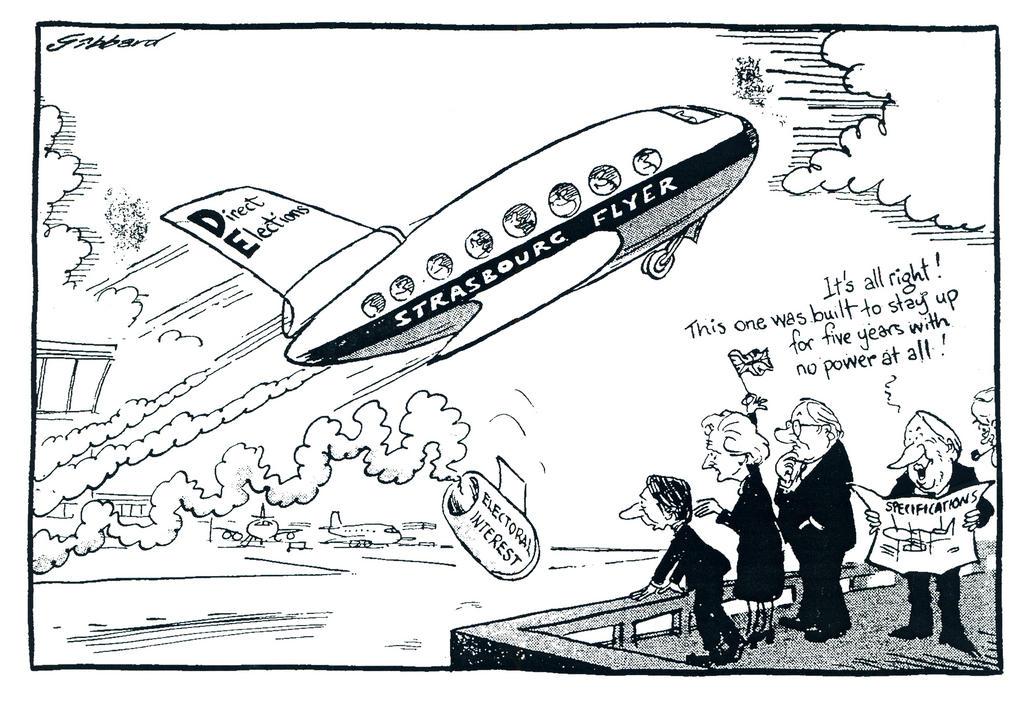 Cartoon by Gibbard on the United Kingdom and the first elections to the European Parliament by universal suffrage (8 June 1979)