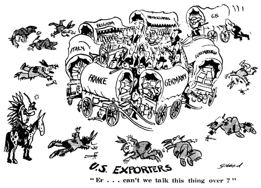Cartoon by Gibbard on the difficult trade relations between the EEC and the United States (24 November 1971)