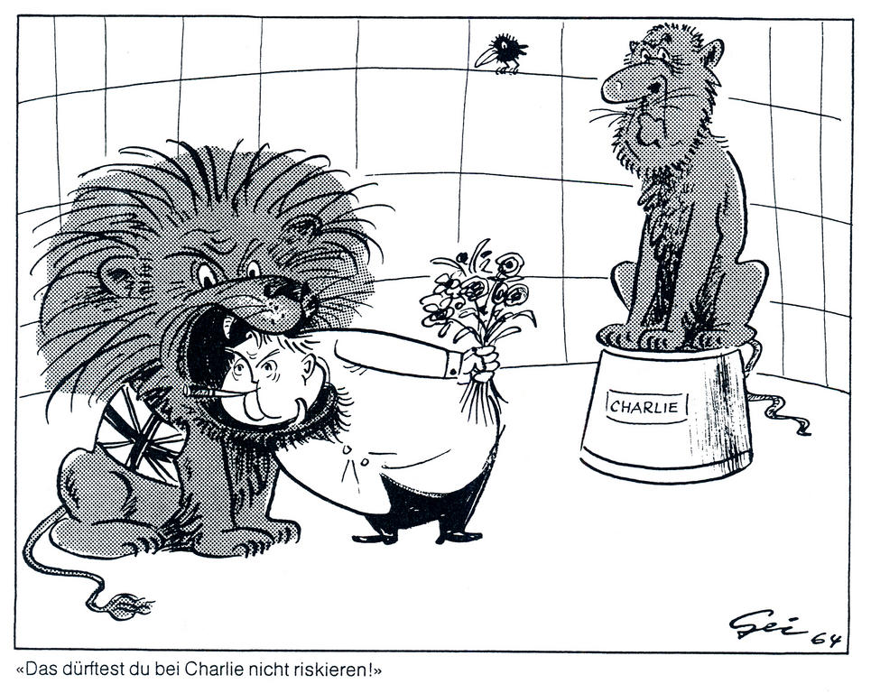 Cartoon by Geisen on the cooling of Franco-German relations under Charles de Gaulle and Ludwig Erhard (1964)