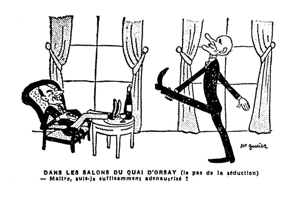 Cartoon by Gassier criticising the Schuman Plan and the role played by the United States (11 May 1950)