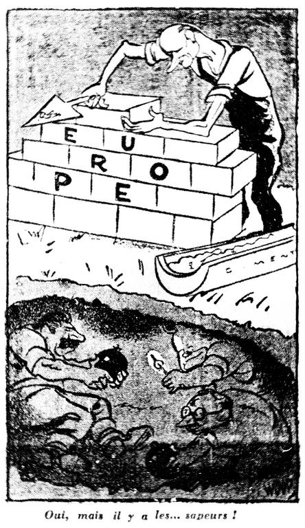 Cartoon by Woop on the Communists' position regarding the Schuman Plan (12 May 1950)