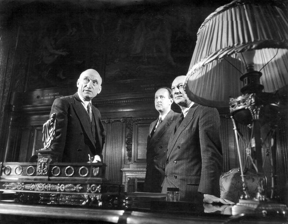 Robert Schuman, Jacques de Bourbon-Busset and Alexandre Parodi at the Quai d'Orsay