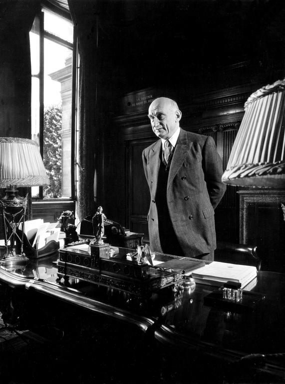 Robert Schuman in his office at the Quai d'Orsay in Paris