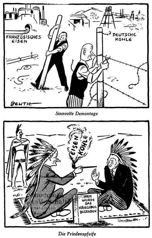 Cartoons by Beuth on the importance of the Schuman Plan for the establishment of closer relations between France and Germany (11 and 17 May 1950)