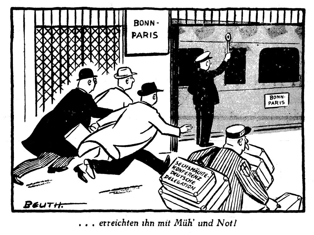 Cartoon by Beuth on German participation in the negotiations on the Schuman Plan (19 June 1950)