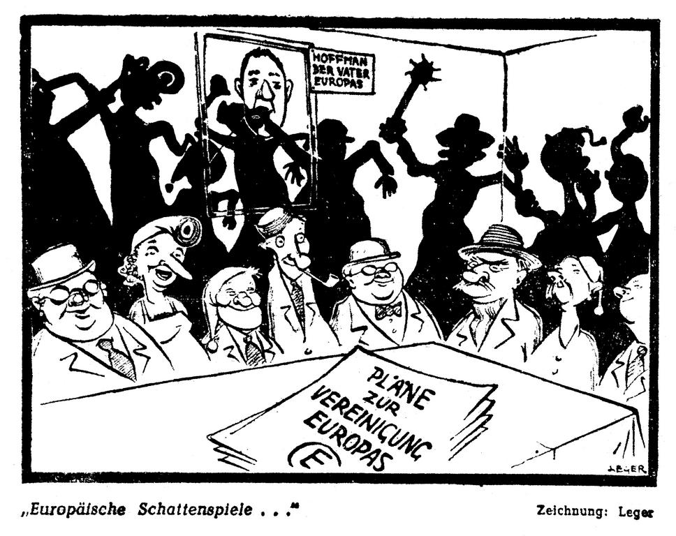 Cartoon by Leger on the difficulties involved in the European unification process (22 February 1950)