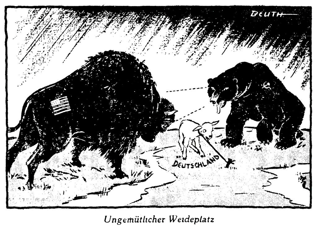 Cartoon by Beuth on Germany's position in the context of the East-West tensions (25 April 1950)