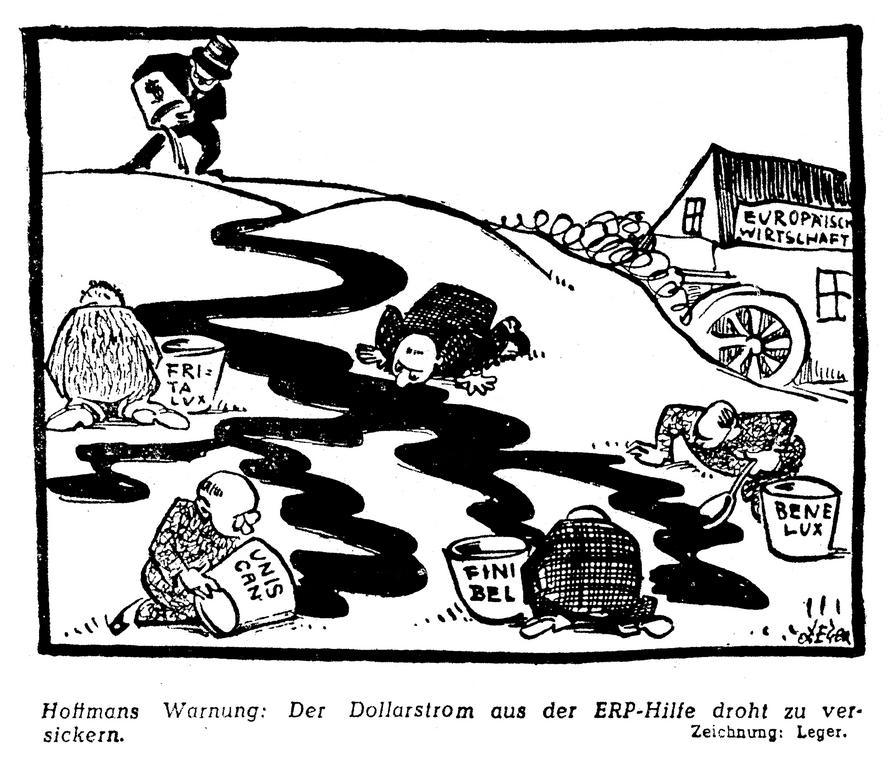 Cartoon by Leger on the US reaction to the slow progress of European unification (5 January 1950)