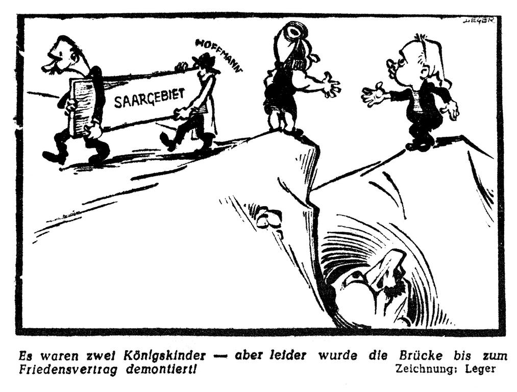 Cartoon by Leger on France's attitude in the settlement of the Saar question (7 March 1950)