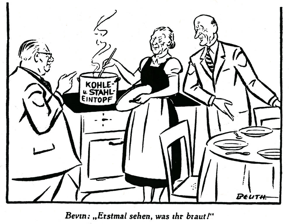 Cartoon by Beuth on British hesitations over the Schuman Plan (30 May 1950)
