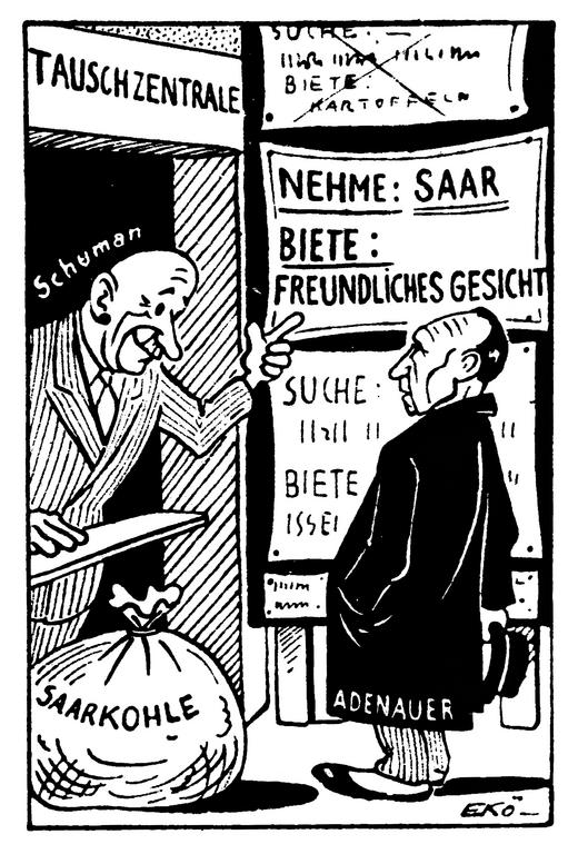 Cartoon by Ekö on the settlement of the Saar question (18 January 1950)