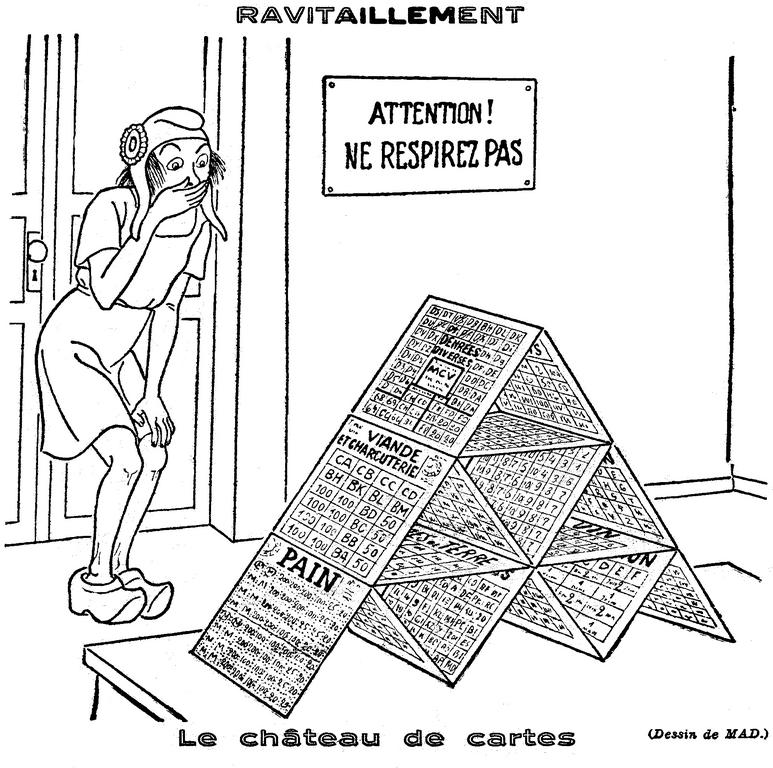 Cartoon by Mad on the food shortage in France (7 February 1946)