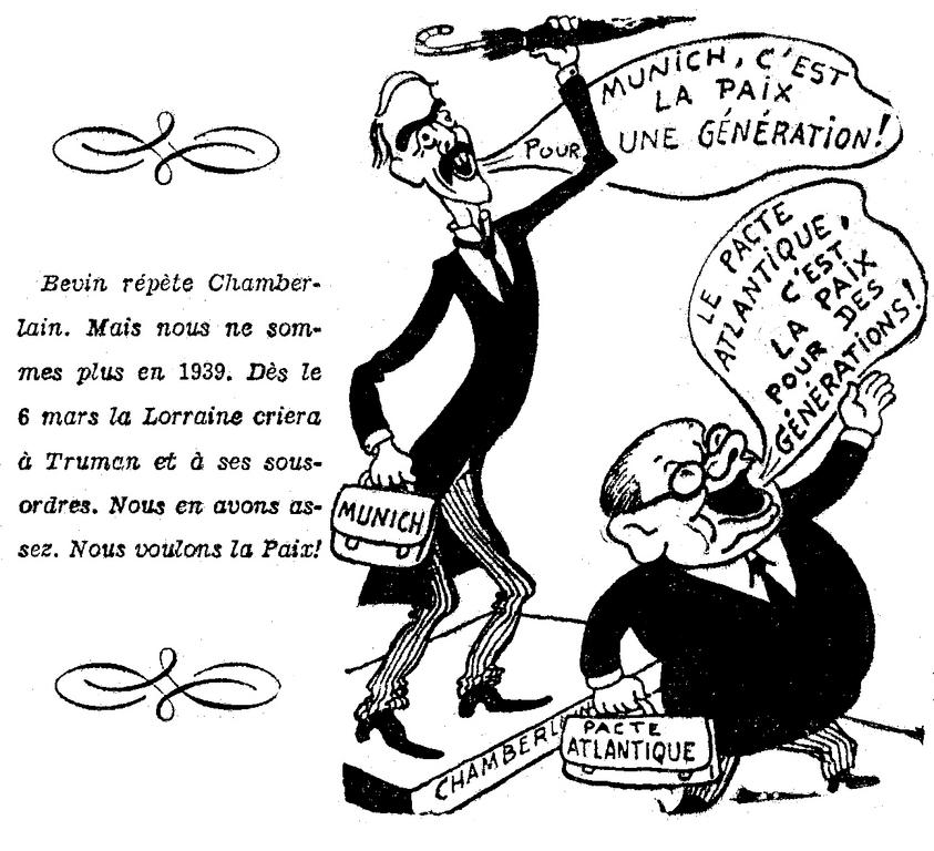 French Communist cartoon against the establishment of an Atlantic Pact (26 February 1949)