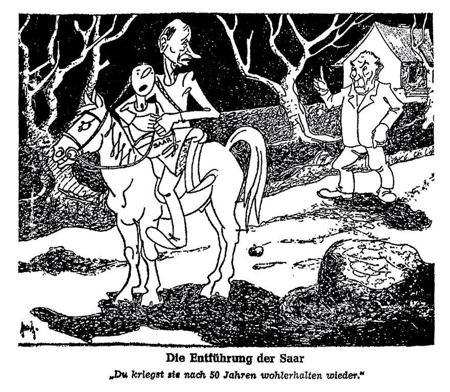 Cartoon on the consequences of the signing of the Franco-Saar conventions (7 March 1950)