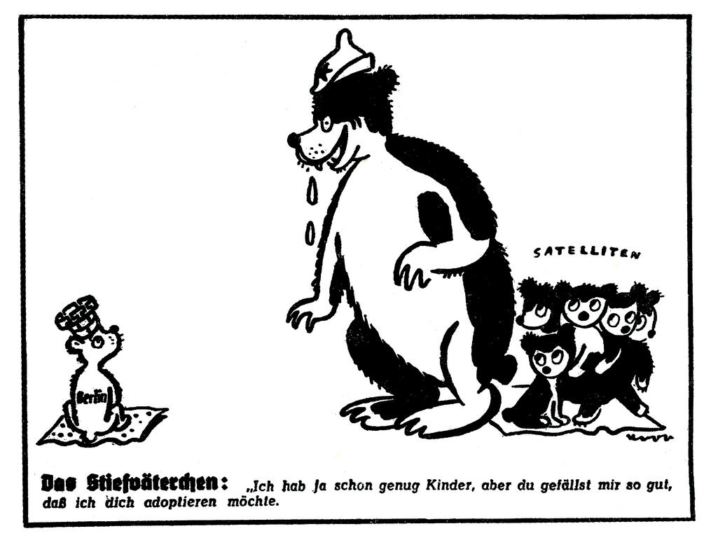 Cartoon on the Soviet Union's political designs on Berlin (1 April 1950)