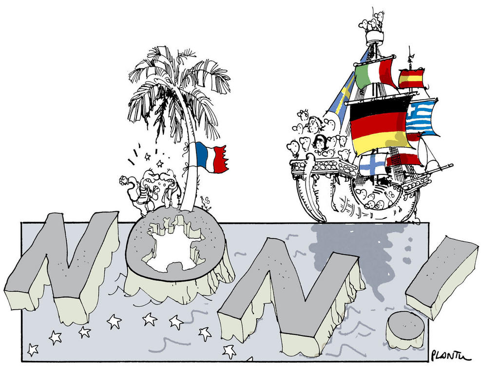 Cartoon by Plantu on France's refusal to ratify the European Constitutional Treaty (2005)