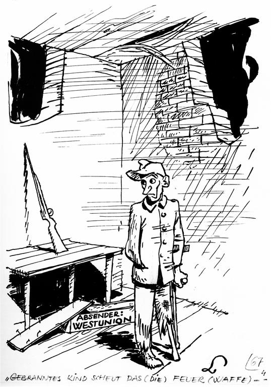 Cartoon by Lang on the question of German rearmament (18 December 1948)