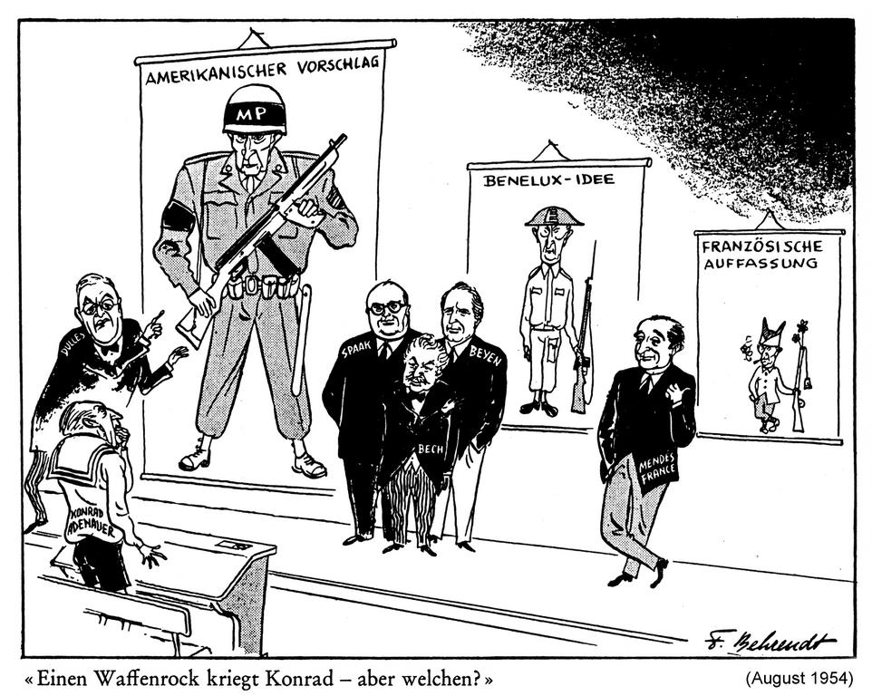 Cartoon by Behrendt on the question of the FRG's rearmament (August 1954)
