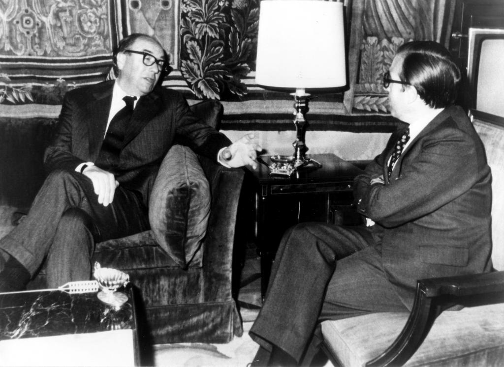 Talks between Roy Jenkins and Marcelino Oreja Aguirre during the negotiations for Spain's accession to the European Communities