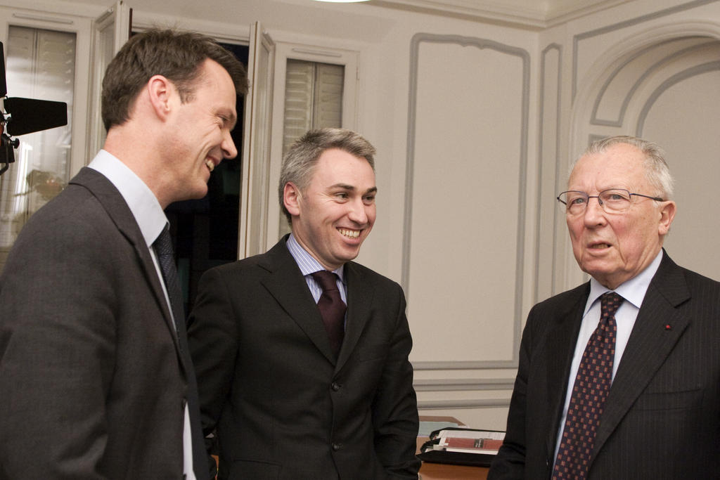 Jacques Delors with Hervé Bribosia and Étienne Deschamps