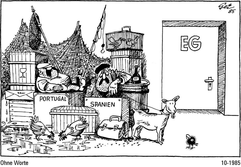 Cartoon by Geisen on the accession of Spain and Portugal to the European Communities (October 1985)