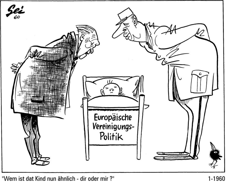 Cartoon by Geisen on the action taken by France and Germany to promote a European integration policy (January 1960)