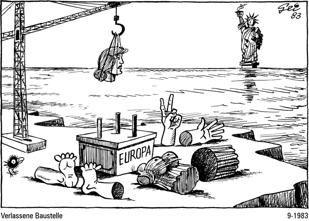 Cartoon by Geisen on the difficult process of European unification (September 1983)