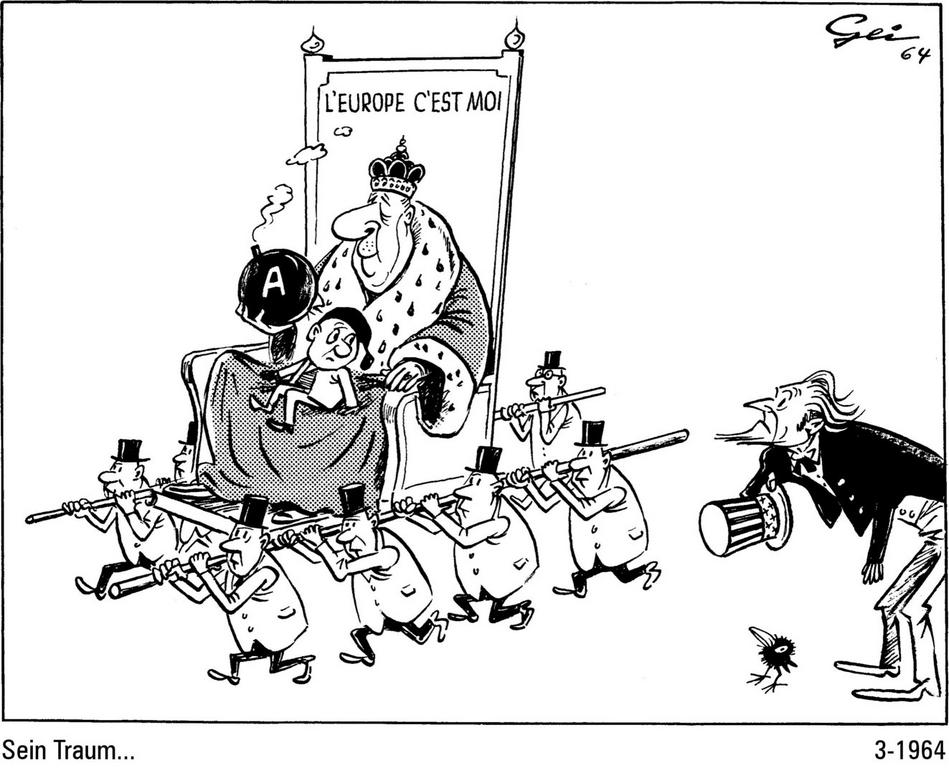 Cartoon by Geisen on General de Gaulle's foreign policy (March 1964)