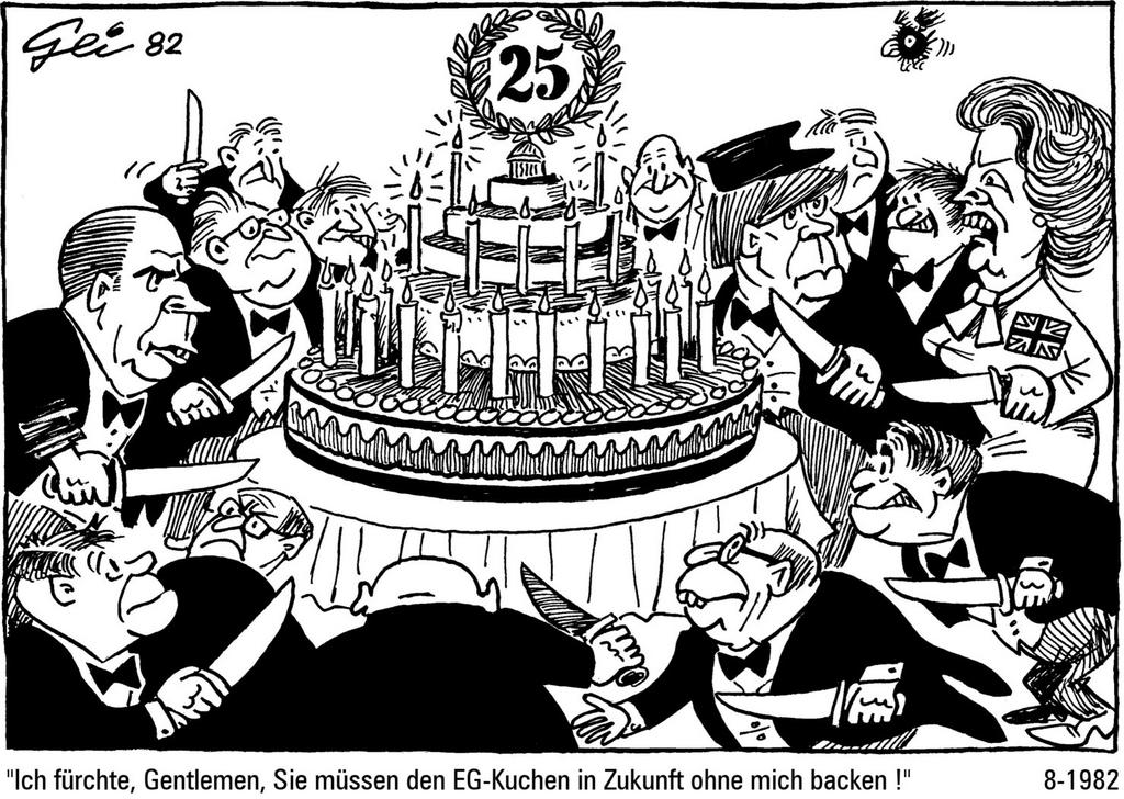 Cartoon by Geisen on the British contribution to the European Community budget (August 1982)
