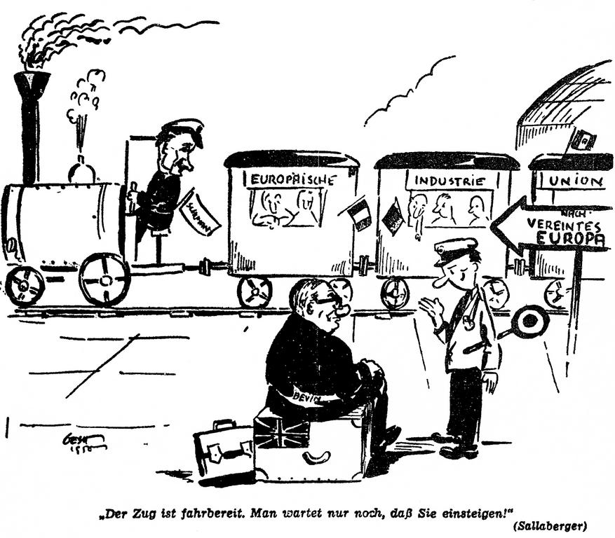 Cartoon on Britain's reluctance to take part in the Schuman Plan (6 June 1950)