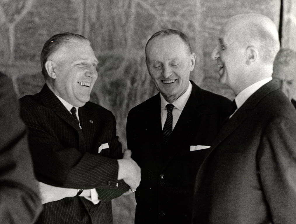 Pierre Werner, Manlio Brosio and Pierre Harmel at the NATO Ministerial Meeting (Luxembourg, 13 June 1967)