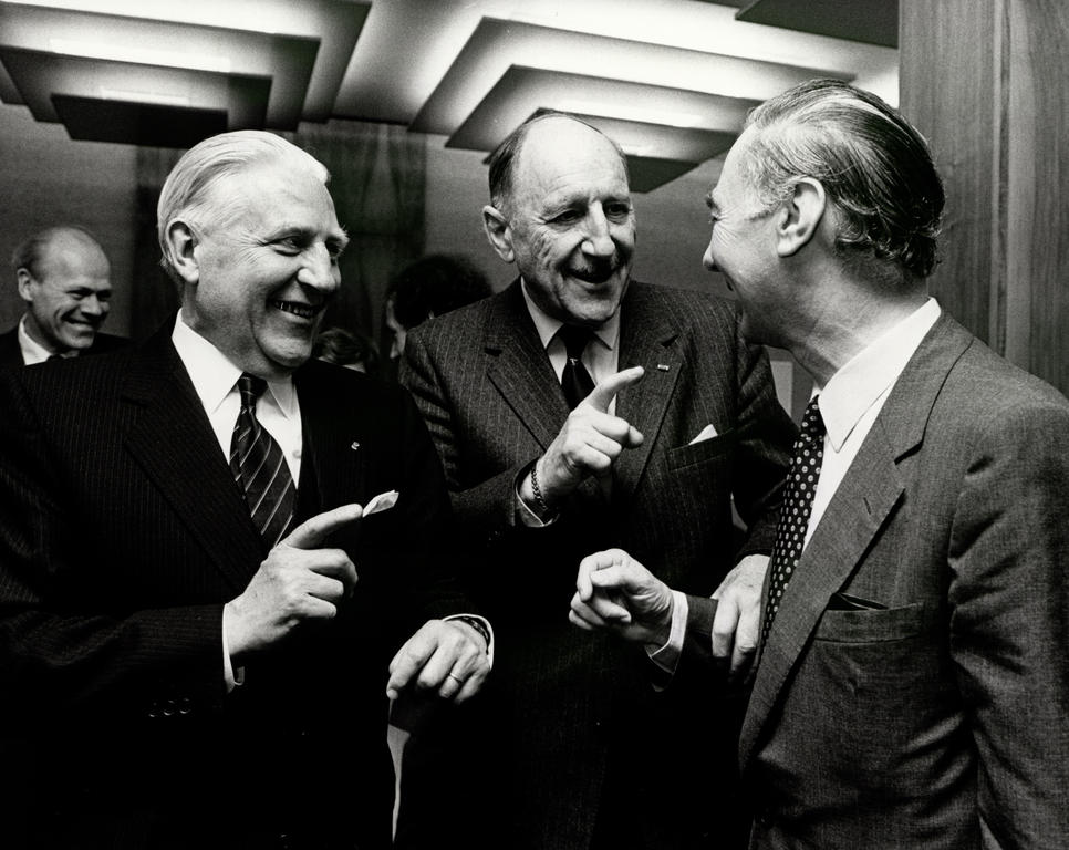 Pierre Werner, Joseph Luns and Leo Tindemans at the NATO Ministerial Meeting (Luxembourg, 17 May 1982)