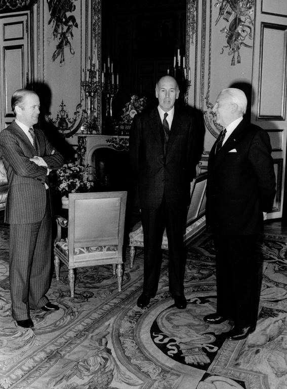 Pierre Werner with Valéry Giscard d'Estaing and Jean François-Poncet (Paris, 19 November 1980)