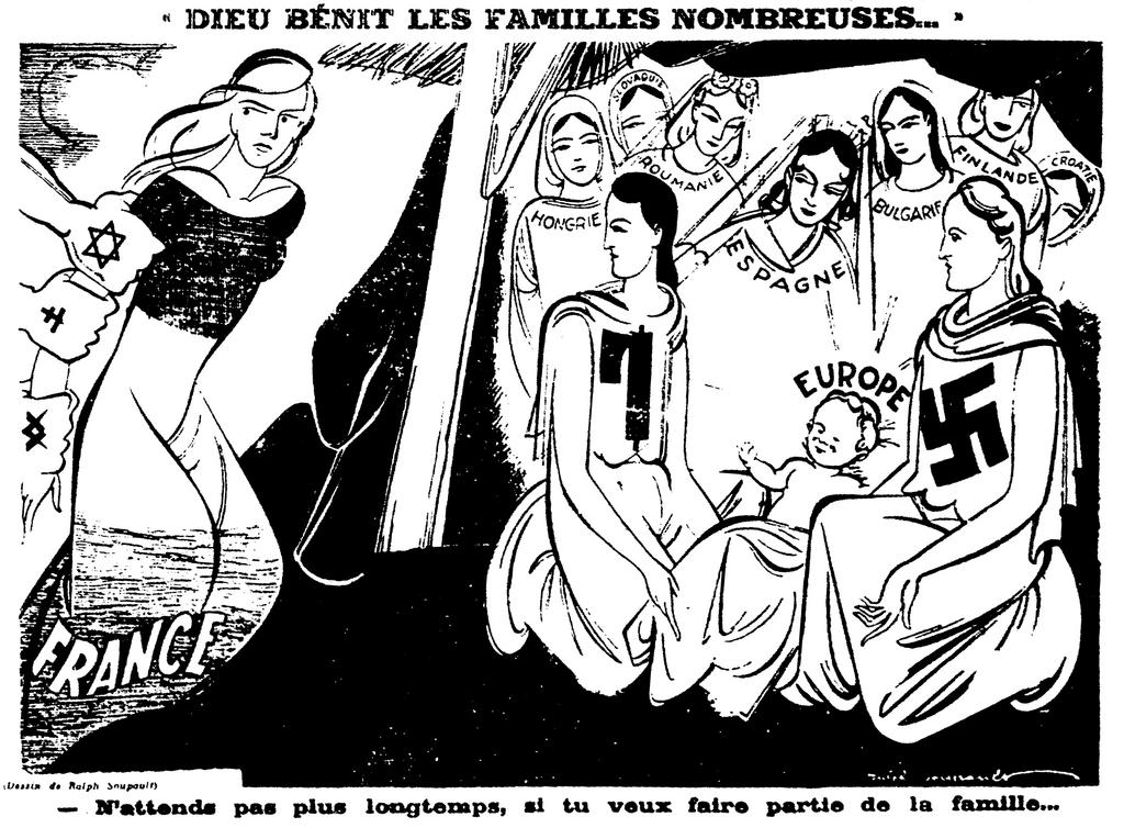 Propaganda cartoon published in the collaborationist journal <i>Je suis partout</i> on the fascist view of a united Europe (20 December 1941)
