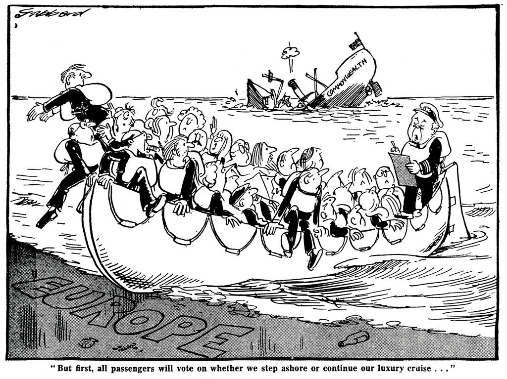 Cartoon by Gibbard on the United Kingdom's continued membership of the EEC (27 February 1975)