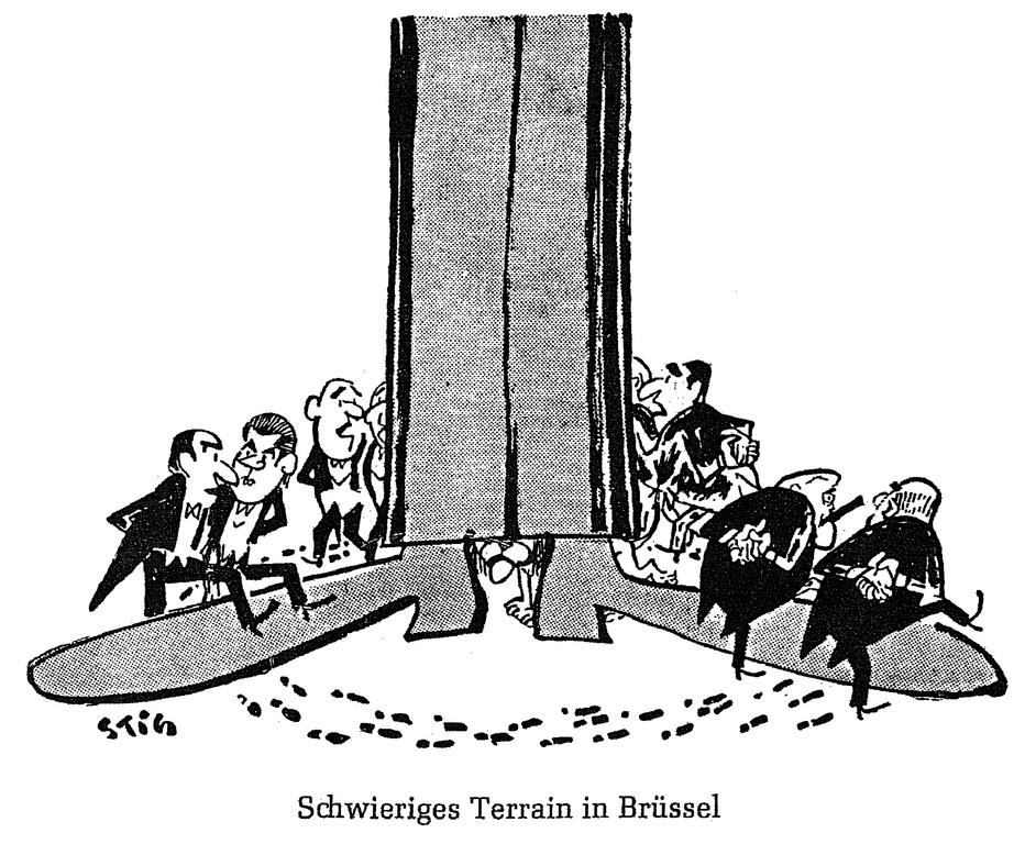 Cartoon by Stig on the failure of the negotiations for the United Kingdom's accession to the European Communities (29 January 1963)