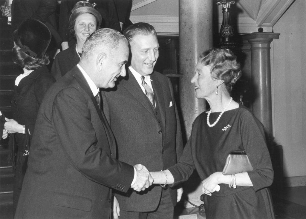 Pierre Werner, Grand Duchess Charlotte and Lyndon B. Johnson (Luxembourg, 4 November 1963)