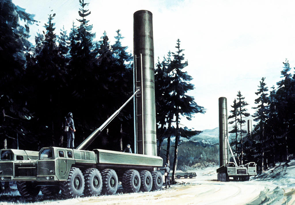 Artist's impression of an SS-20 medium-range nuclear ballistic missile mobile launcher in firing position (January 1985)