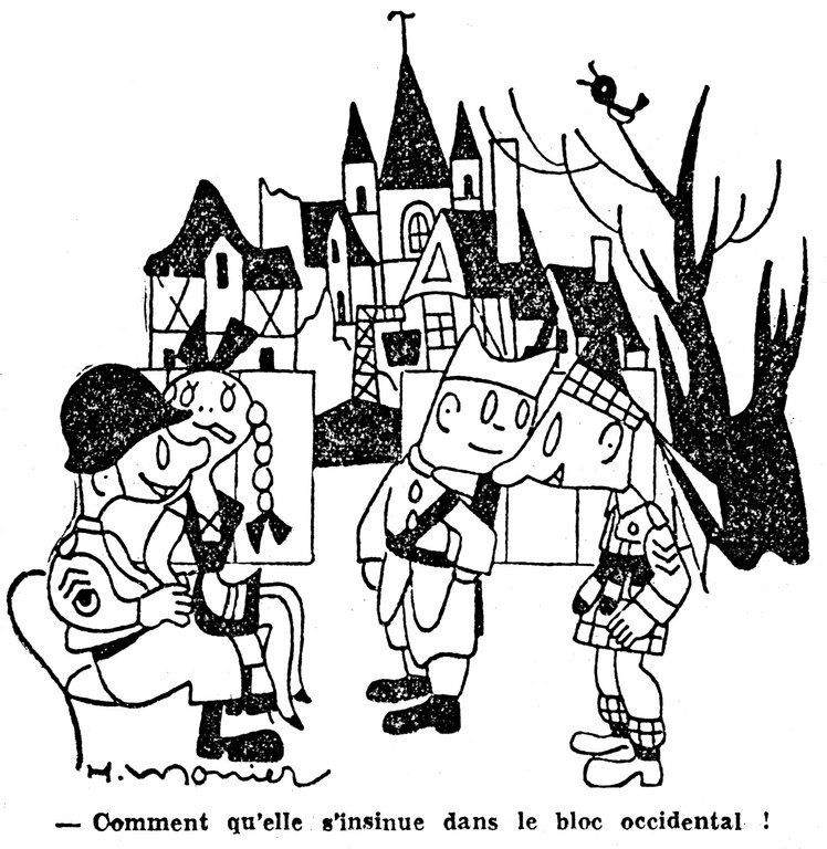 Cartoon by Monier on the political future of post-war Germany (8 December 1948)